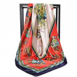 Lenço de seda quadrada e quadrada on-line-Lady impresso hijab lenço de seda, quadrado, bandana e gravata são adequados para o negócio de coleta de mulheres elegante pequena seda HONGHUACI