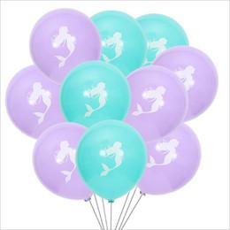 2019 sacos de látex Mermaid Latex Balloons 10 Polegada Decoração de Casamento Festa de Aniversário do Dia Das Bruxas Sereia Balão Novo Balão Dos Desenhos Animados 10 Peças / Saco 2 Cores LT1553 sacos de látex barato