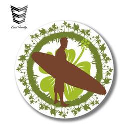 decalcomanie autoadesive auto Sconti EARLFAMILY 13 cm x 13 cm Surf Hibiscus Fiore Surfer Sticker Finestra di Automobile Camion Paraurti Decalcomania Del Vinile Grafica 3D Autoadesivo Riflettente