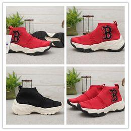 2019 zapatillas de suela gruesa 2019 Calcetines Zapatos de moda recreativos de suela gruesa B Letter NY Zapatos deportivos de pareja bordados para hombres Mujeres Zapatos deportivos negros rojos casuales rebajas zapatillas de suela gruesa