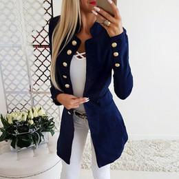 Nouvelles robes de bureau en Ligne-XUXI Femmes Automne Nouveau Long Manteau Femme Bureau Robe En 2019 Un Sous-vêtement Un Mince Manteau Femmes Hiver Solide Noir FZ766