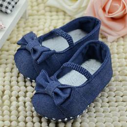 обувь для девочек Скидка Toddler Bow-Knot Blue Denim Elastic Band First Walkers Baby Girls Comfortable Cute Soft Sole Anti-slip Shoes