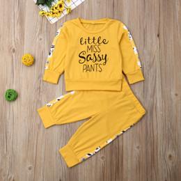 calças de ganga amarelas Desconto Outono Manga Longa Carta Amarela O Pescoço T-shirt Calças Roupas Treino Ocasional 2 pcs 2019 Criança Crianças Do Bebê Meninas Roupas conjunto