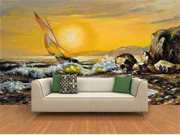 Pintura a óleo por do sol on-line-Tamanho personalizado 3d foto papel de parede sala de estar mural estilo Europeu Sunset vela recife Pintura A Óleo sofá TV pano de fundo papel de parede não-tecido adesivo