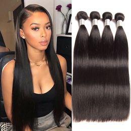 Cabelo de 32 polegadas on-line-cabelos lisos feixes 4 pcs feixes brasileiros peruanas Malaysian indiano virgem humanos cabelos lisos 26/10 polegadas cabelos lisos extensões