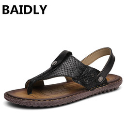 big animal slippers Coupons - Summer Leather Sandals Men Cool Slippers Men Flat Shoes Slides Beach Shoes Two Ways To Wear Sandals Big Size 38-47