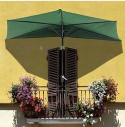 patio sonnenschirme Rabatt Freier Verschiffen Großverkauf Heiße Verkäufe 9 Ft. Patio-Markt-halbes Neigungs-Regenschirm-Grün im Freien