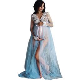 8cf91adae MUQGEW Nuova estate pizzo abito di maternità donne incinta maternità abito  fotografia puntelli costume gravidanza pizzo lungo maxi vestito