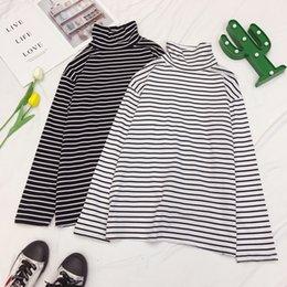 2019 gorras de moda corea Corea del Ulzzang T simple camisa de rayas de cuello largo de la manga casquillo Manga Harajuku Di-s Pareja Moda Otoño T Shirt completa rebajas gorras de moda corea