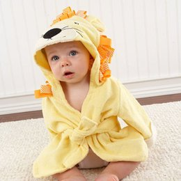 infant bathrobe towels Promo Codes - Cute Boys Girls Hooded Bath Robes Towels Animal Ears Bathrobe Infant Baby Long Sleeve Hoodies Belt Bathing Robes Sleepwear BH1162 TQQ