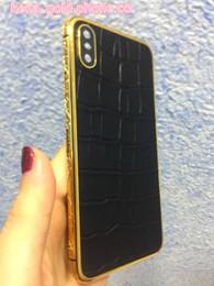 Miroir du milieu en Ligne-Châssis en or 24 carats de qualité parfaite en or 24 carats pour iphone X Middle Frame avec cuir véritable crocodile noir + boutons