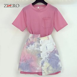 Кнопки из жемчужной рубашки онлайн-Casual Skirt Two Piece Set Loose Long T shirt Set Colorful Print Pearl Button Single-breasted Asymmetry Skirt Suits LooseFashion