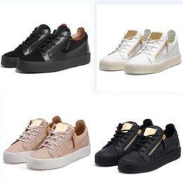 mens casual shoes zippers Promo Codes - HOT Italy Luxury Casual Shoes Zipper Mens and Women Low Top Flat Shoes Genuine Leather Mens Shoes Designer Sneakers Trainers