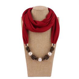 Collana di dichiarazione del tallone della resina online-Fashion Statement Sciarpa collana per le donne nuove perle di resina etnica perline ciondolo collane sciarpe all'ingrosso di gioielli