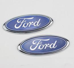 2019 ford chrom-logo 2 stücke Kühlergrill Blau Abzeichen Zeichen Symbol Logo Emblem für Ford Mondeo Fiesta Focus