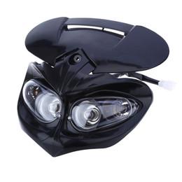 Carenados inferiores online-DC 12V Universal Motorcycle Dual Fairing Headlight 18W High Low Honda