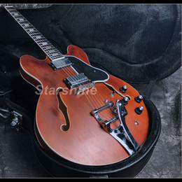 335 guitare électrique semi-creuse en Ligne-2019 guitare semi-creuse 335 guitare électrique 22F ébène Alnico micros mère de perle finition tache