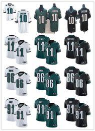 Maglia da donna per uomo Philadelphia 11 Carson Wentz 10 DeSean Jackson 86 Zach Ertz 91 Fletcher Cox Maglia da calcio personalizzata Eagles nero verde da aquile maglia nera fornitori