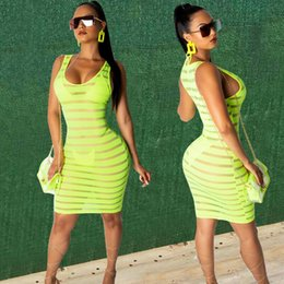 hot sexy see through dresses Promo Codes - New Style Women's Dress Sexy Summer Casual See Through Green Sleeveless Skinny Sleeveless Clubwear Party Dress Fashion Hot 2019