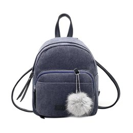 CATS Schultasche für Mädchen Vintage Cord Einfarbig Reiserucksäcke Gestreifte Pompon Nette Umhängetasche von Fabrikanten
