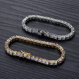 bracelete de ouro de 5mm Desconto Tênis Pulseiras Jóias 2019 Nova Moda de Luxo Grade de Qualidade 5mm Zircão Pulseiras de Hip Hop Requintado 18 K Banhado A Ouro Pulseiras de Corrente LBR073