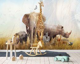 [Autoadesivo] Giraffa 3D ed elefante 3174 Carta da parati murale Stampa murale Adesivi murali cheap elephant wall paper da carta da parati di elefante fornitori