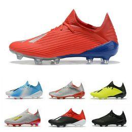 2019 zapatos de fútbol de corte alto 2019 X 19.1 FG Calzado de fútbol para hombre con cordones Cablones Chaussures baratos crampones de fútbol botas x19 + Alta calidad scarpe da calcio
