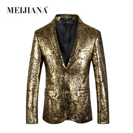 oro costume da smoking Sconti Costume da abito slim Abito da sposa Blazer Gold 2018 MEIJIANA Fit Tuxedo Party Homme Uomo Prom Performance