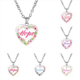 Neue Inspirierende Herzform Halsketten Für Frauen Liebe Hoffnung Traum Glauben Glaube Brief Glas Anhänger Ketten 2019 Modeschmuck von Fabrikanten