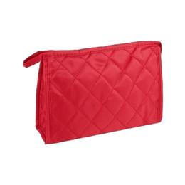 2019 saco de cosmético plano Red stitching Lattice pattern zíper 3 bolsos Cosméticos de viagem Flat bag saco de cosmético plano barato