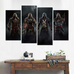 assassini creed canvas Sconti 4 pezzo di stampa su tela pittura di arte moderna assassins creed unità gioco immagine per soggiorno decorazione della parete