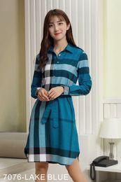 2019 vestidos de xadrez tartan Moda de luxo das Mulheres Clássico Do Vintage Camisa Xadrez Vestido Longo Senhora do Escritório Estilo Britânico de Manga Longa tartan t camisa Casual Vestidos desconto vestidos de xadrez tartan