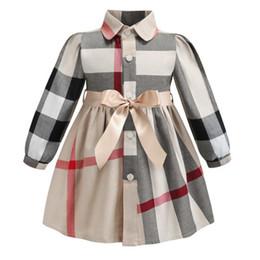 nuevo diseño de vestido corto para niña Rebajas Las niñas de manga larga de solapa visten 2019 INS nuevos estilos estilos europeos y americanos niña de algodón de alta calidad vestido a cuadros grande