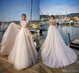 Jasmine 2019 Beach Wedding Dresses Jewel Lace Appliques Long Sleeve Sweep Train Bridal Gowns Boho Illusion Bodice Vestido De Novia