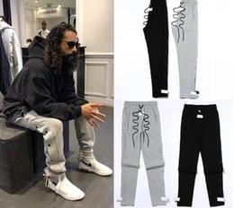 Calças de hip hop de zíper branco on-line-2019 New side zipper pants hip hop Medo de Deus Moda roupas urbanas vermelhas bottoms justin bieber NEVOEIRO calças jogger Preto Branco