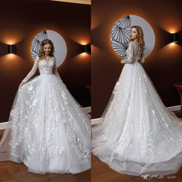 Doramei Womens Bridal Gowns Soft Tulle with Lace Appliques V-Neck Long Sleeves Wedding Dress for Bride Spring 2019