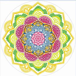 2019 sfere di scialle Telo mare Tassel Print Scialle Poligonale Purple Ball Sand Stampa Lotus Colorful Round Super Large Water Assorbimento 24 sfere di scialle economici