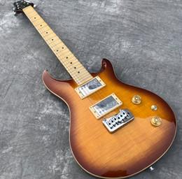 véritable électrique Promotion En stock Tremolo humain, guitare électrique, couleur Sunburst Vintage, table en érable flammé, touche Maple Guitarra, véritable show photo, livraison gratuite.