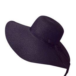 Caldo cappello di paglia di estate delle donne di modo di estate berretto da sole pieghevole di viaggio della spiaggia dell'arco del nastro del cappuccio largo largo DO2 da