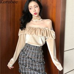 6e98f04f2e08 Korobov New Fashion Mesh Patchwork Blouse Ruffles Long Sleeve Women Shirts  Stand Collor Off Shoulder Blusas 76601