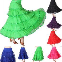 2019 swing tanz kostüme Frauen einfarbig Pailletten Polka Dot Faltenrock Gesellschaftstanz Modern Dance Long Swing Kleid Kostüm knöchellangen Rock rabatt swing tanz kostüme