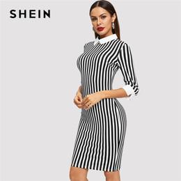 wholesale Black And White Striped Collar Dress Elegant Office Lady Slim  Knee-Length Dress Autumn Modern Lady Women Office Dresses inexpensive modern  women ... 0dc056632819