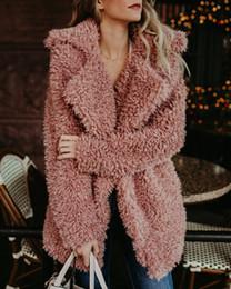 abrigos de lana rosa para las mujeres Rebajas Invierno de las mujeres capa de la chaqueta de bombardero chaqueta de piel falsa de peluche foso de la capa de lana rosa Abrigo de manga larga con capucha Outwear