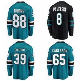 haie eishockey Rabatt Herren San Jose Sharks Hockey Trikots Brent Burns Trikot 88 Joe Pavelski 8 Erik Karlsson 65 Logan Couture 39 Genähtes Authentic Jersey Ice