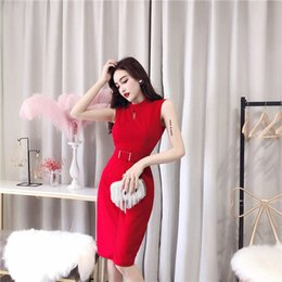 151f788834b6 With Belt Spring and Summer 2019 New Korean Women Sexy OL Dress Buttock  Sleeveless Medium-length Skirt QC0140