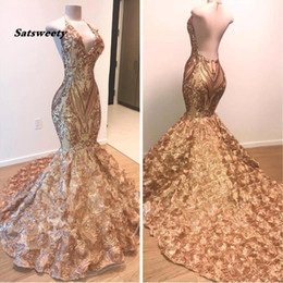 short gold sequin prom dresses Coupons - 2020 African Gold Prom Dresses Mermaid Halter V Neck 3D Flowers Sleeveless Evening Dress Long Arabic Dubai Party Gowns