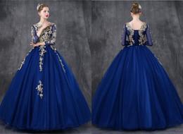 Argentina Sexy Royal Blue Gold Lace Quinceanera Vestidos de baile 2019 Vestido de bola Pura manga larga Corsé Volver Tul dulce 16 Vestidos De Vestido cheap royal blue gold corset dress Suministro