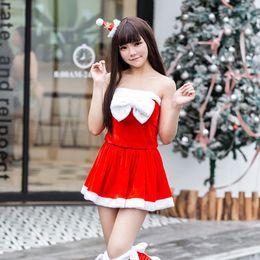 Vetement sexy femme noel en Ligne-Fancy Mini robe femmes de Noël Costume Sexy bretelles Tube Top Set rouge Père Noël cosplay de vacances Vêtements Xmas Party Outfit