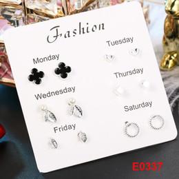 2019 anillo de jade indio Nueva moda precio al por mayor para mujer pendientes 6 pares por juegos de aleación de plata plateada con incrustaciones de gemas artificiales joyería de adorno de estilo coreano