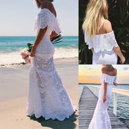 Lace Country Bohemian Wedding Dresses Weg von der Schulter Sweep Zug Kurzen Ärmeln Günstige 2019 Strand Brautkleider Plus Größe von Fabrikanten